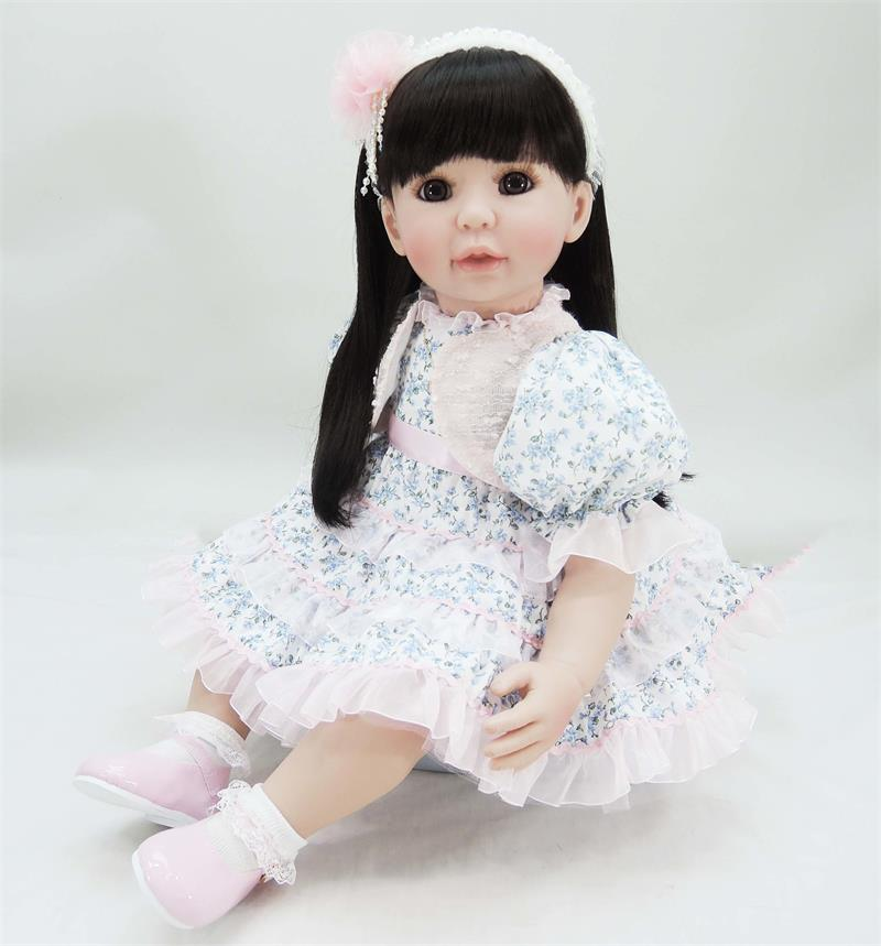 60cm vinyl silicone reborn baby doll simulated doll toddler princess alive bebe lovely birthday gift play house toy girl boneca 2016 hot now fashion original edition sofia the first princess doll vinyl toy boneca accessories doll for kids best gift