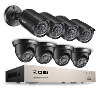Promo ZOSI 8CH sistema CCTV 1080N/720 P HDMI TVI CCTV DVR 8 piezas 1.0MP IR al aire libre cámara de seguridad 1280TVL sistema de Vigilancia de la casa