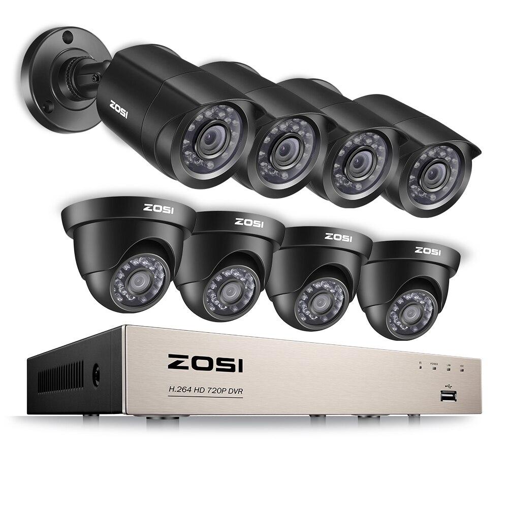 ZOSI 8CH CCTV Системы 1080N/720 P HDMI TVI видеонаблюдения DVR 8 шт. 1.0MP ИК Открытый безопасности Камера 1280TVL главная видеонаблюдения Системы