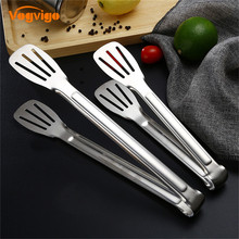 VOGVIGO Stainless Steel Wooden Plastic Kitchen Food Utensils Buffet Cooking Tool Anti Heat Bread Clip Pastry Clamp Barbecue Tong