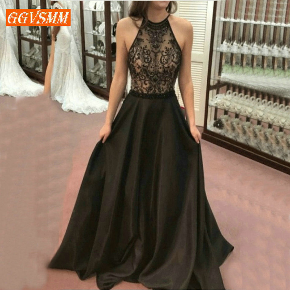 Fashion Black   Evening     Dresses   Party 2019 Long Prom   Dress   Women Halter-Neck Satin Lace Zipper A-Line Banquet Formal   Evening   Gown