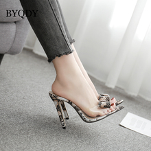 BYQDY Women Sandals Serpentine Thin High Heels Transparent PVC Pumps Bowknot Valentine Shoes Lady Footwear Size 35-40