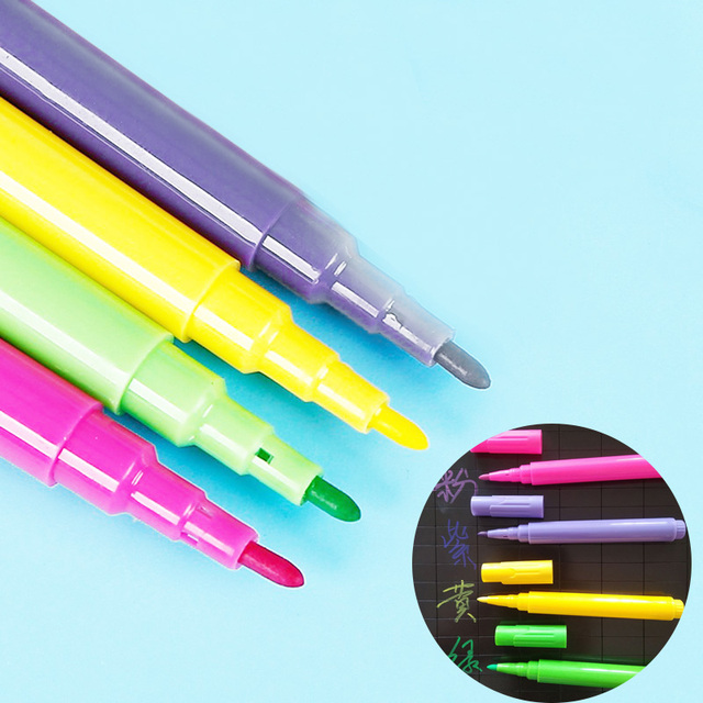 For Art Painting Glass Chalkboard Whiteboard Colored Erasable Chalk Marker Pen Office School Supplies Markers Teaching Tools