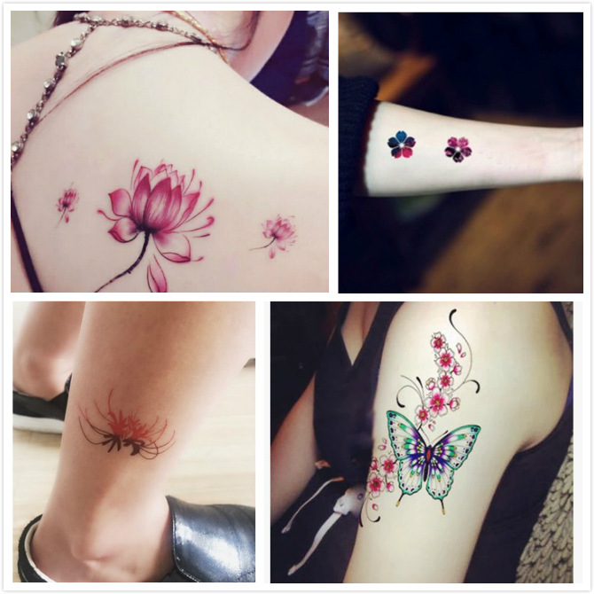 30Pcs/Set No Repeat Temporary Tattoo Stickers Waterproof Tattoos For Women Sexy Arm Clavicle Body Art Hand Foot for Girl Men 5