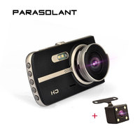 PARASOLANT 4 Inch Ultra High Night View Driving Recorder Dual Lens 1080P Car Camera Wide Angle