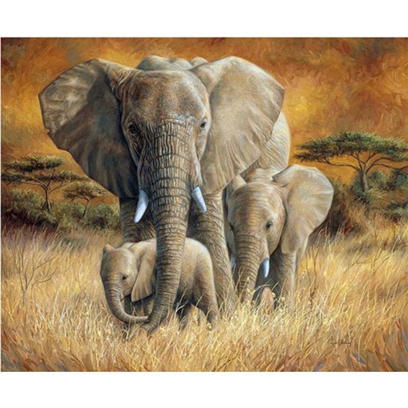 5d Diy diamond painting rhinestones Elephant family wedding decoration embroidery cross stitch handmade needlework BK 4424 in Diamond Painting Cross Stitch from Home Garden