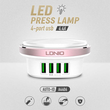 LDNIO A4406 4 Port Plug USB Charger Wall Adapter Mobile Phone Device Data Charging Universal