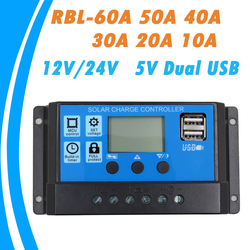 24V 12V Auto Solar Panel Battery Charge Controller 60A 50A 40A 30A 20A 10A LCD Solar Collector Regulator with Dual USB Wholesale