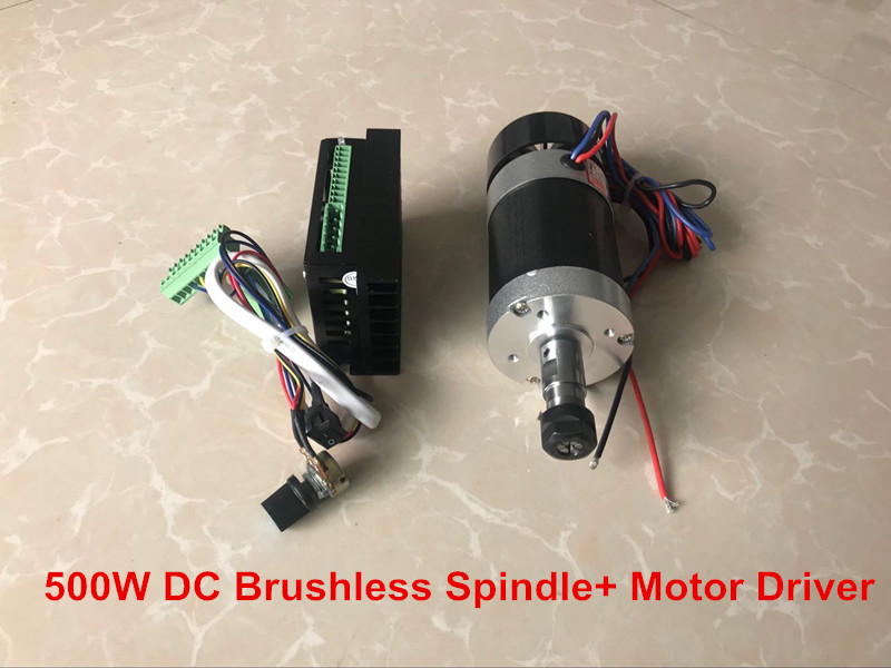 Brushless Spindle 500W CNC Spindle Motor ER11 Milling Machine + 55MM Clamp + Stepper Motor Driver free shipping 500w er11 collet 52mm diameter dc motor 0 100v cnc carving milling air cold spindle motor for pcb milling machine