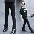 Meninas Jeans Preto Borla Longo Trouers Para Meninas Magro Básico primavera Outwear Aparamento Do Laço Calças Lápis Para O Bebê Da Menina Jean Skinny