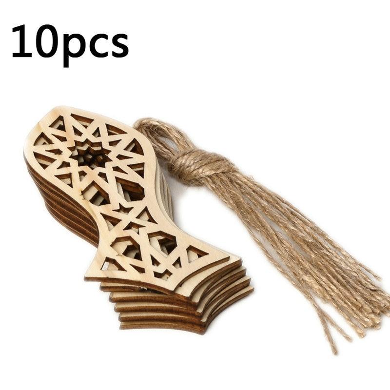 10PCS DIY Muslim Islam Eid Wooden Chip Hanging Pendants Ramadan Ornaments Iftar Gifts Decorations