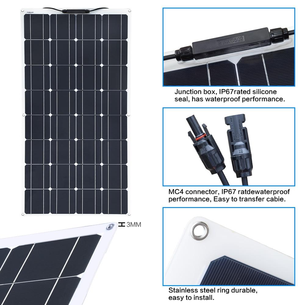 Boguang 16 V 100 W panneau solaire avec contrôleur 10A Sonnenkollektor 100 Watt flexible placa solaire 12 v monocristallin batterie 100 w - 3