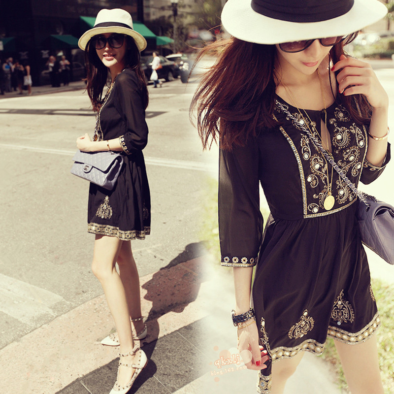 2017 Direct Selling Promotion Summer Seaside Beach Waist Slim Skirt V Collar Heavy Sequin Embroidery Chiffon Dress все цены