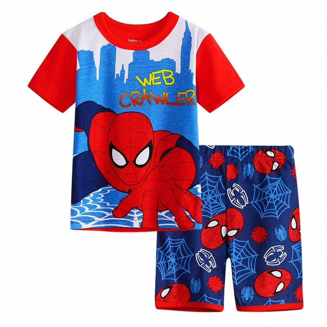 Boys Spiderman Summer Pijamas Set Kids Short Sleeve Cotton