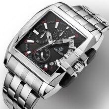 MEGIR Vierkante Horloge Mannen Volledige Staal Quartz Uur Militaire Casual Horloges Mens Luxe Merk Chronograaf Polshorloge Mannelijke Klok Man
