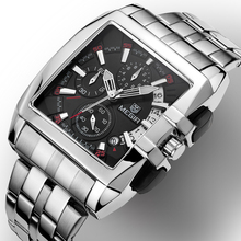 MEGIR carré montre hommes en acier complet Quartz heure militaire décontracté montres hommes de luxe marque chronographe montre bracelet homme horloge homme