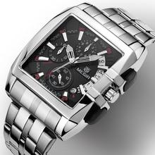 Reloj cuadrado MEGIR para hombre reloj de pulsera cronógrafo de marca de lujo para hombre reloj de pulsera para hombre
