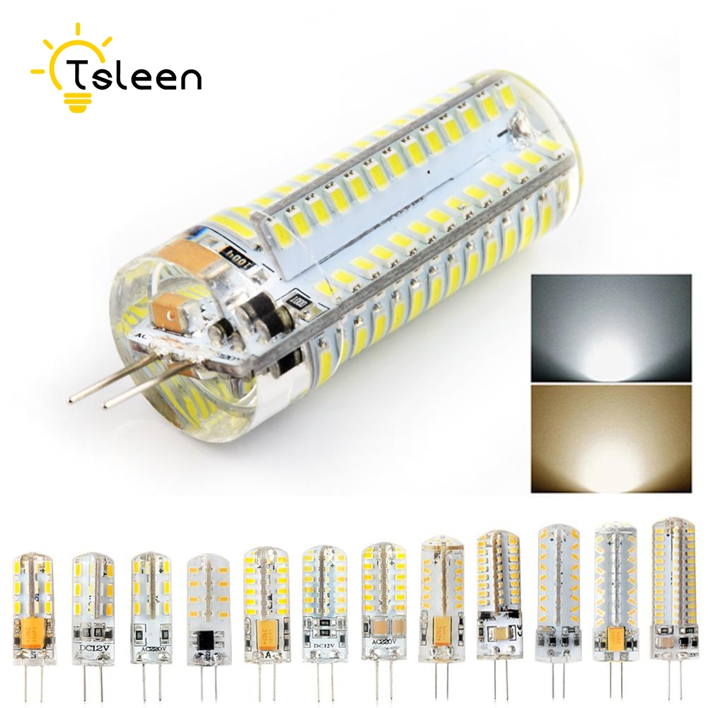 TSLEEN LED G4 3014 SMD 3W 5W 6W 8W 9W DC 12V 220V LED Lamp halogen lamp g4 led 12v Corn Bulb Silicone Lamps Chandeliers Lighting