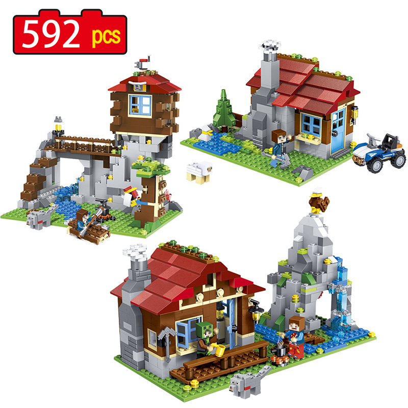 592pcs New Technic 3in1 My World Building Blocks Sets Mountain Hut Compatible LegoINGLY Minecrafter Toys for Children lele 2017 new technic compatible legoinglys minecrafter the nether railway building blocks my world educational toys 402 pcs