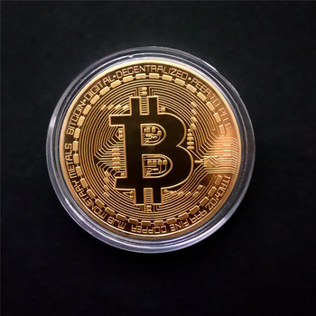 Gold Plated Physical Bitcoins Casascius Bit Coin BTC Case Gift Physical Metal Antique Imitation BTC Coin Art Collection 1pcs