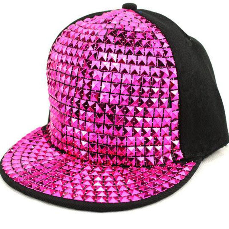 Personality Sequins Baseball Caps Flat Brim Outdoor Hats Girls Boy Bling Punk Snapback Cap Jazz Rock Cool Hip Hop Cap in Men 39 s Baseball Caps from Apparel Accessories