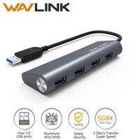 Wavlink 휴대용 미니 슈퍼 속도 4 5.0 포트 5gbps의 USB 3.0 허브 알루미늄 USB 허브 데이터