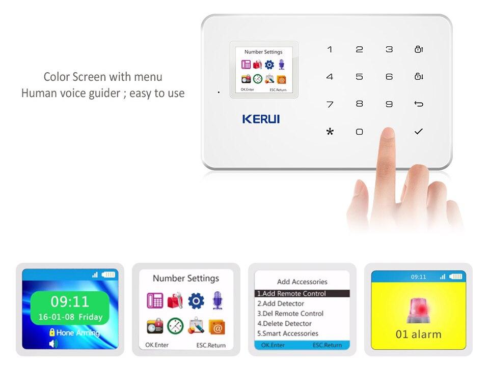 KERUI G18 Wireless Home GSM Security Alarm System DIY Kit APP Control With Auto Dial Motion Detector Sensor Burglar Alarm System 13