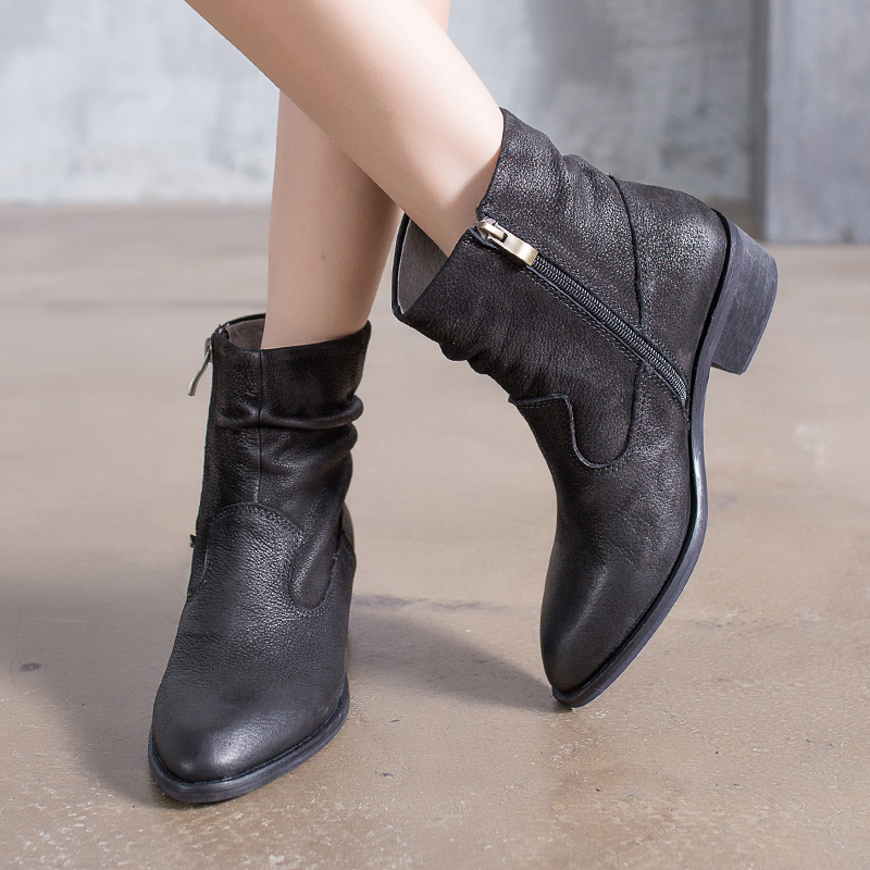 Genuine Leather Shoes Women Ankle Boots Pointed Toes Side Zippers Pleated Handmade Ladies Boots VALLU 2018 New Arrival handmade quality custom sexy charm contracted style leather side zippers rivet women s knight boots