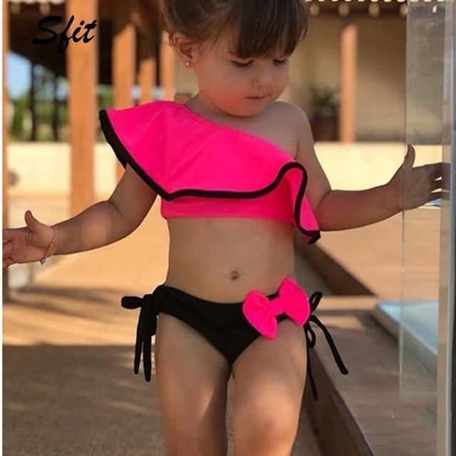 Sfit Summer Baby Girls Bikini Set Two Pieces Swimsuit  Family Matching Mother Swimwear Beach Ruffle Bow Costume Bathing Suit New