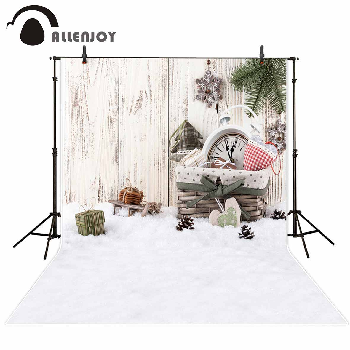 Allenjoy vinyl photo backdrops Snow gift board children happy Christmas background photobooth new arrivals original design