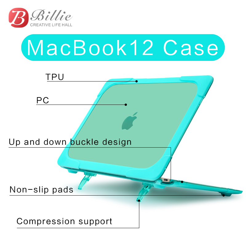 "Image 2 - Fashion Protective Laptop notebook Case Cover Sleeve For Apple Macbook 12inch Touch Bar 2017 2018 Model New Retina 12""/Kickstand-in Laptop Bags & Cases from Computer & Office"