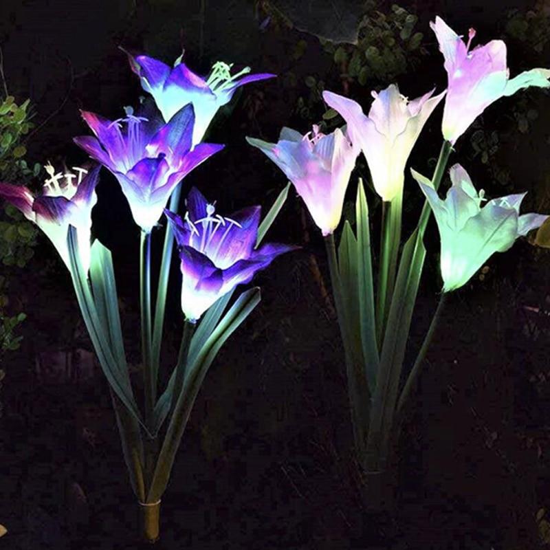 Solar Lights For Garden Decoration LED Solar Lamp Colorful Lily Flower Christmas Outdoor Lighting Waterproof Solar Light (3)
