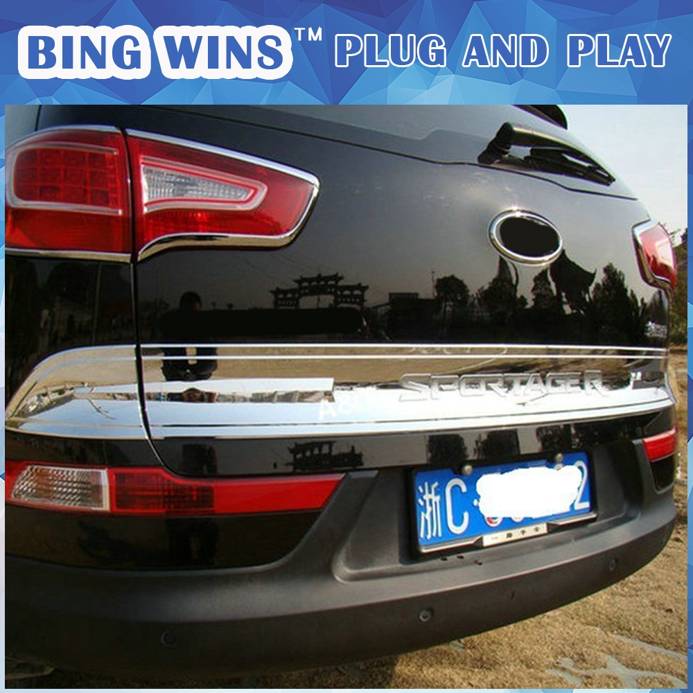 BING WINS Car styling For KIA SportageR rear trunk chrome decoration strip For 2015 Sportage R tailgate abs cover trim 3 pcs car styling abs headlight switch button sequins dedicated interior chrome trim cover for subaru outback 2015 trim decoration