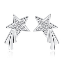 Promotion 925 sterling silver fashion shiny crystal star ladies`stud earrings jewelry women birthday gift Anti allergy cheap