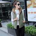 Large size winter warm vest women wool cardigan waistcoat 2017 casual Outwear Elegant Ropa Mujer Hooded ladies clothing SA140