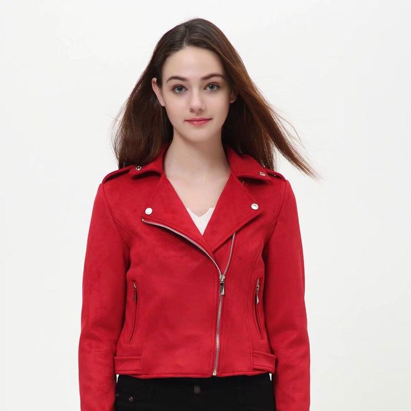 Red Pink   Suede   Jacket Moto Femme Shearling Jacket   Leather   Coat Short Punk Jacket Autumn Winter Women Outwear jaqueta de couro