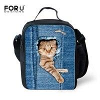 ฉนวนยีนส์ถุงอาหารกลางวันสำหรับผู้หญิงแมวสัตว์น่ารักพิมพ์ผู้ใหญ่Lunchbagส่วนบุคคลโรง