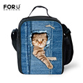 Insulated Denim Lunch Bag for Women Cute Animal Cat Printing Adult Lunchbag Personalized School Kids Lunch Bag lancheira termica