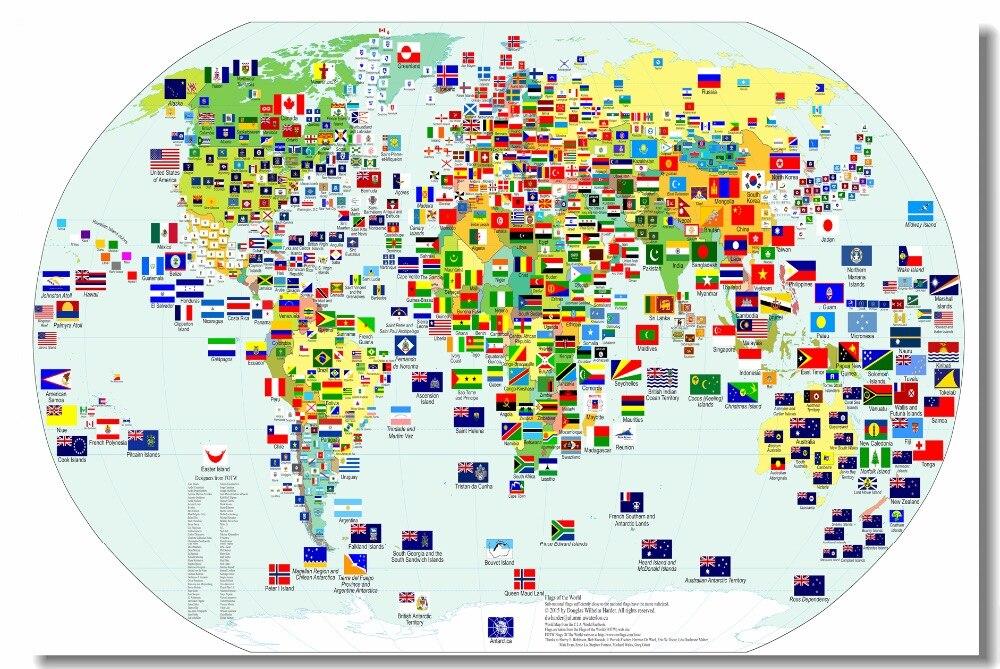 özel Tuval Duvar Dekor Dünya Haritası Posteri Dünya Bayrakları Duvar