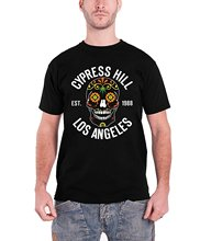 New Fashion T Shirt Graphic Letter  Compression Mens  Cypress Hill T Shirt Flower Skull 1988 Band Logo Official Mens Black