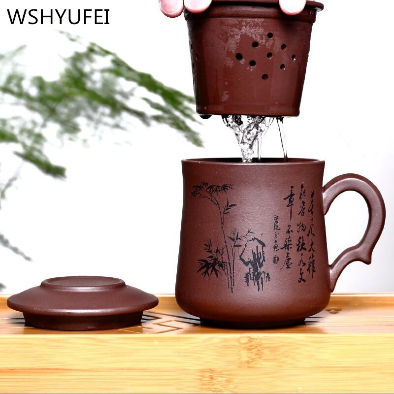 Chip tea cup Yixing Large Size Purple Clay Tea Cup With Cover 420ml Purple Teacup Grit Tea Set On Sale Chinese Teacup