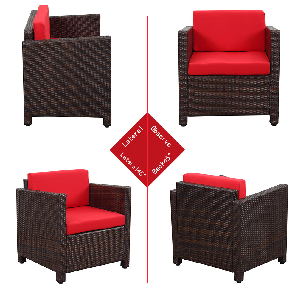 Salon De Jardin Akami > Ikayaa Us Stock Empuk Wicker Patio Furniture Set Taman Rumput Sofa