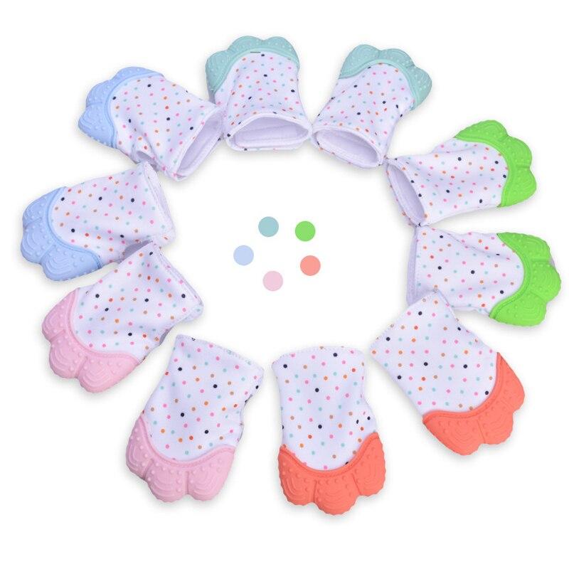 Siliconen Bijtring Fopspeen Handschoen Tandjes Chewable Pasgeboren Verpleging Bijtring Kralen Baby BPA Gratis Pastel Speelgoed voor Kinderen