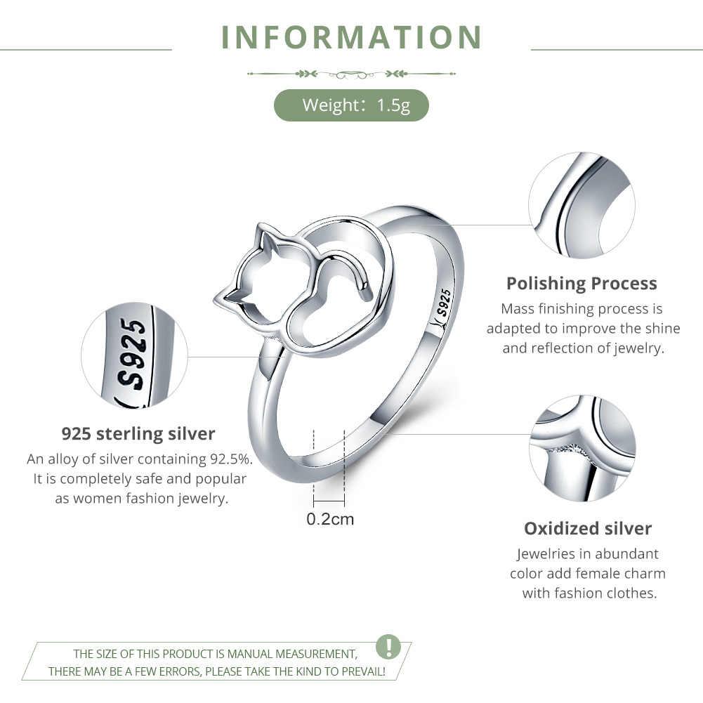 BAMOER แท้ 100% 925 เงินสเตอร์ลิงซน Little Cat & หัวใจแหวนเงินผู้หญิงเครื่องประดับของขวัญ SCR104