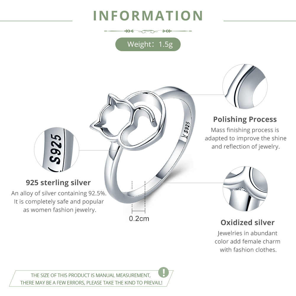 BAMOER Authentic 100% 925 Sterling Silver Naughty Little Cat & Heart Finger Ring for Women Sterling Silver Jewelry Gift SCR104