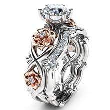 2pcs Big CZ Zircon Stone Rose Flower Silver Ring Set for Women Wedding Engagement Fashion Jewelry
