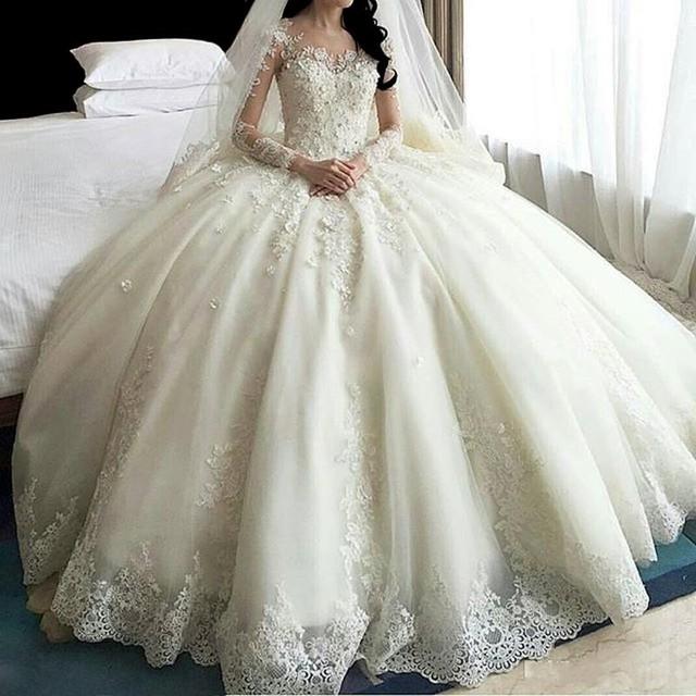 מכירה לוהטת דובאי קריסטל פרחי כדור שמלת חתונת שמלות 2017 חדש ארוך שרוול מוסלמי תחרה אפליקציות חתונת שמלות כלה שמלה