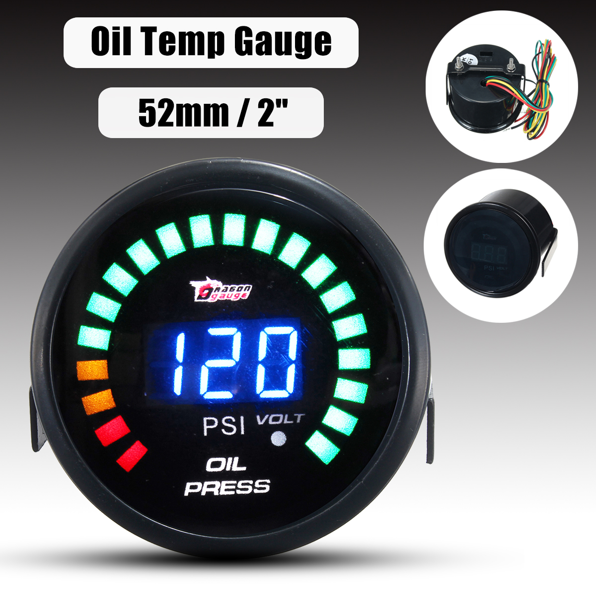2  52mm LED Car Digital Voltmeter Oil Press Pressure PSI Gauge Meter Pointer with Sensor DC 12V cnspeed 252mm 12v car auto oil press gauge 0 7bar oil pressure guage with sensor smoke lens racing white led car pressure meter