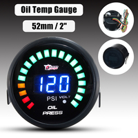 2 52mm LED Car Digital Voltmeter Oil Press Pressure PSI Gauge Meter Pointer with Sensor DC 12V