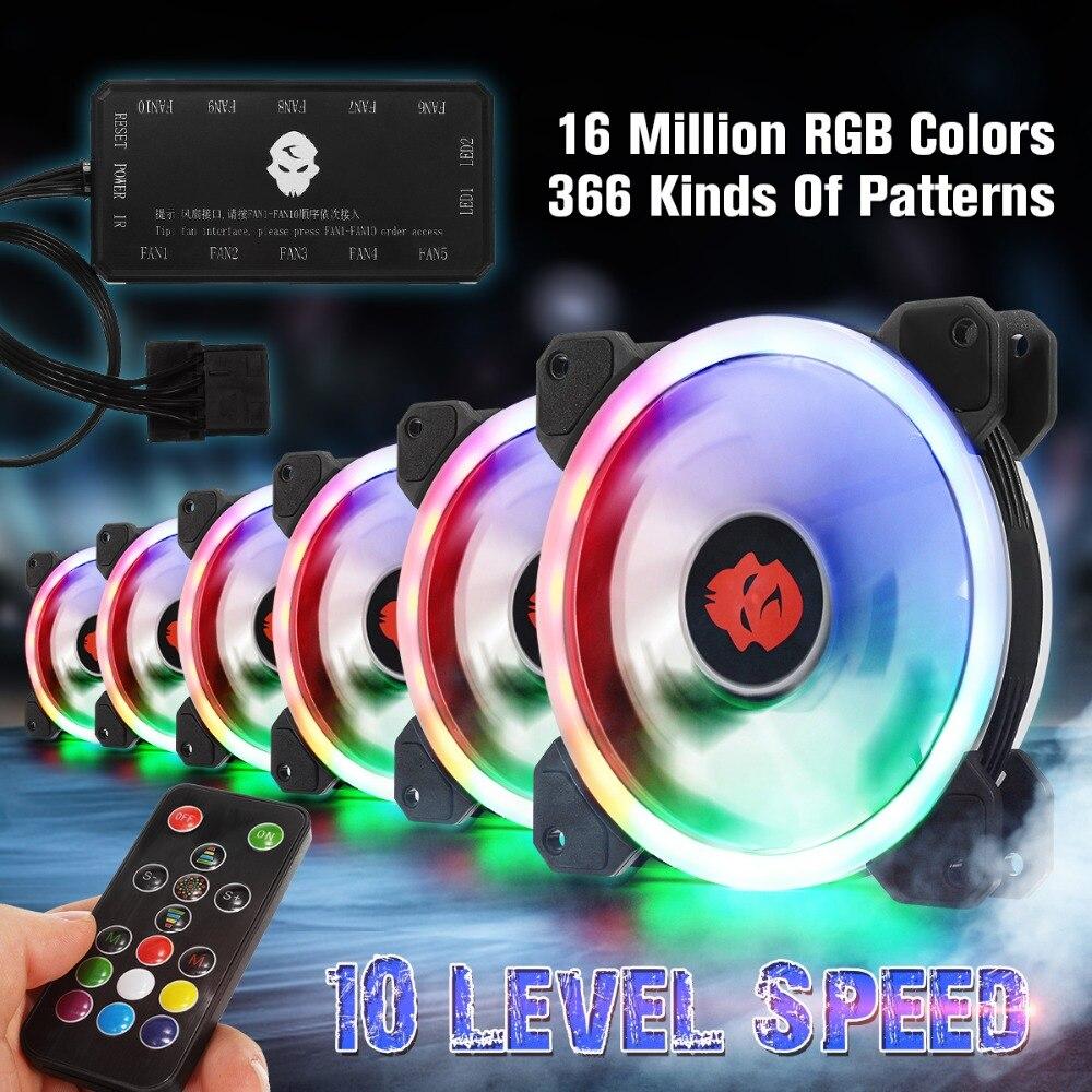 6 stücke Pc-gehäuse PC Lüfter RGB Passen 120mm Ruhig + IR Fern Neue computer Kühler RGB Gehäuselüfter Für CPU